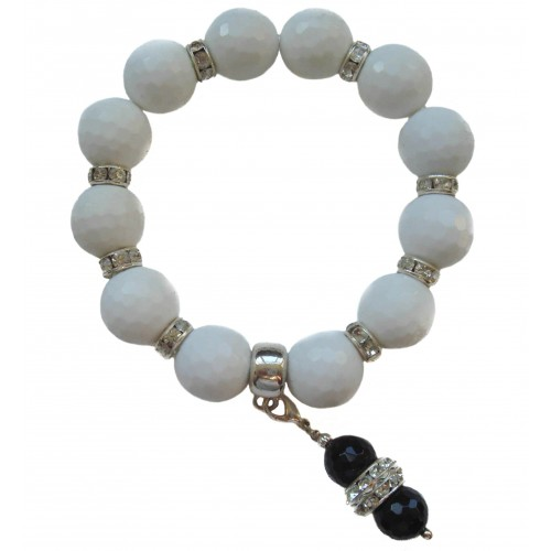 Bracelet of white Jade stone and white stras rondelles