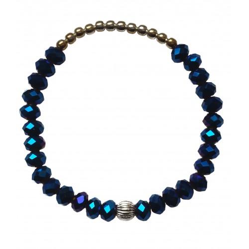 Pulsera de piedra de cristal azulón y bolitas de plata