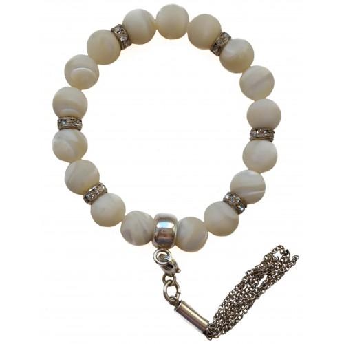 Bracelet of Mother of pearl and fringe tassel silver pendant