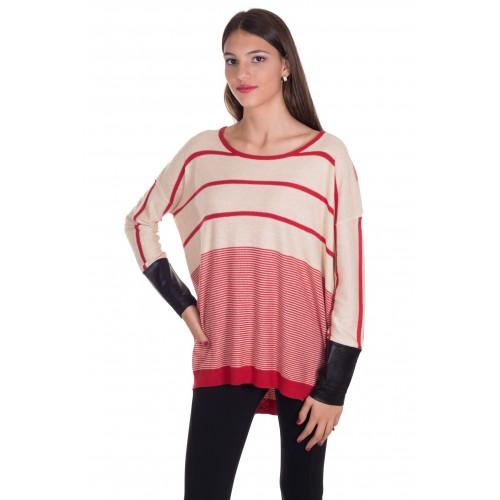 Jersey amplio rayas crema y rojo
