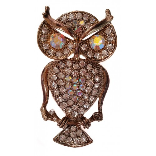 Brooche gold metal owl with shiny white stras