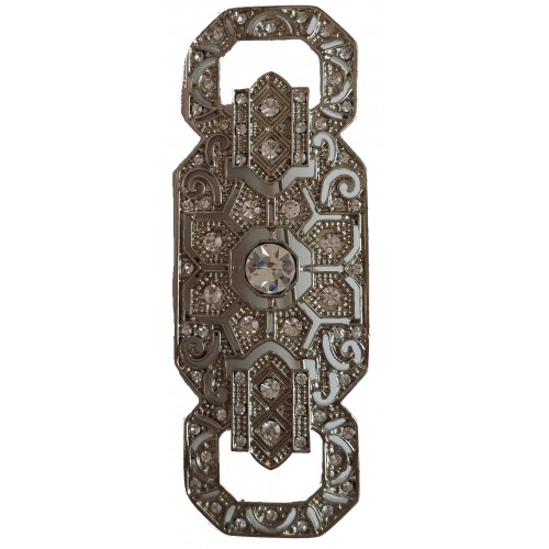 Broche alargado metal plateado y brillantes stras