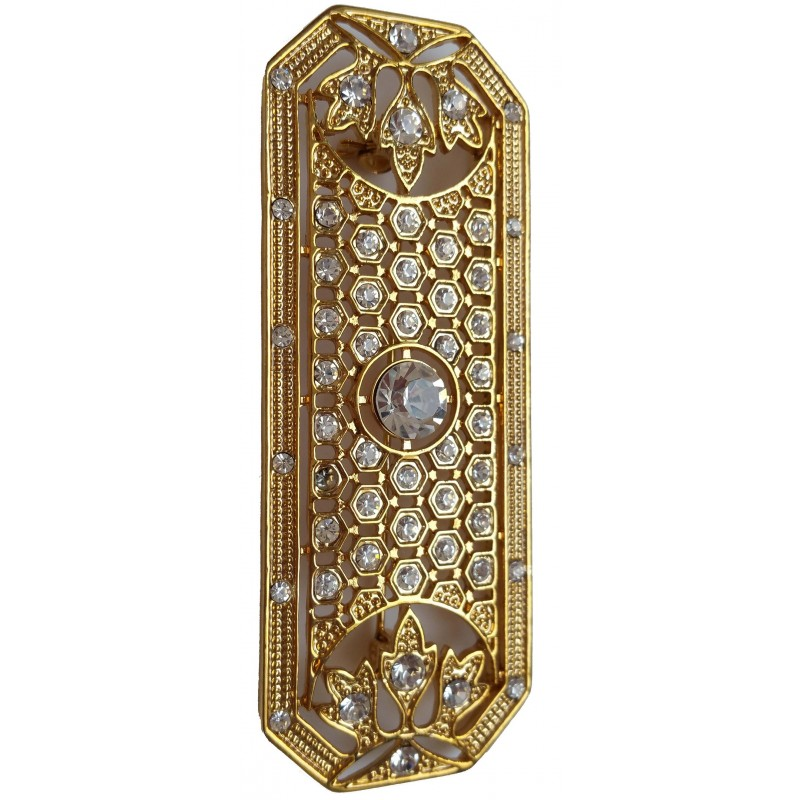 Brooche elongated gold metal with white stras