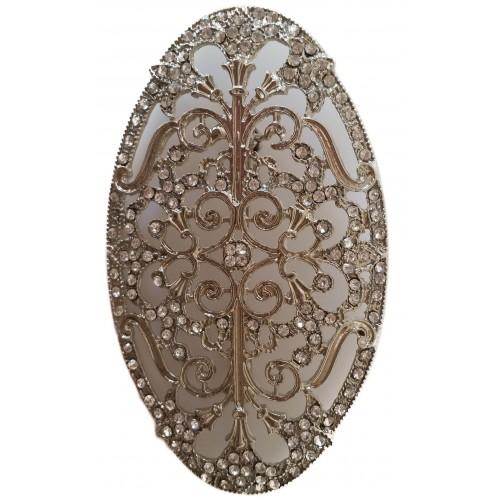 Broche ovalado stras blanco