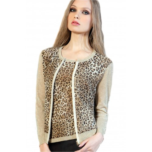 Top animal print y lurex