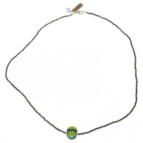 Necklace in crystal chain and central Murano glass green flowers