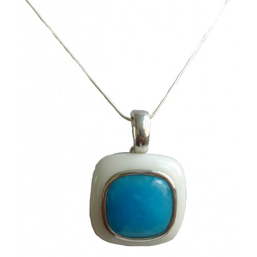 Pendant square in white jade and turquoise blue quartz and sterling silver