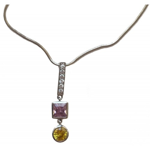 Pendant multicolored elongated sterling silver