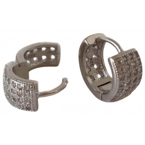 Earrings in silver hoop  and 4 zirconia rows
