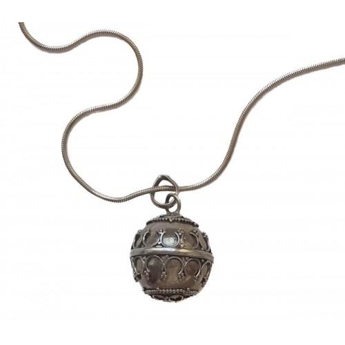 Pendant ball angel caller in sterling silver 6 cm diameter