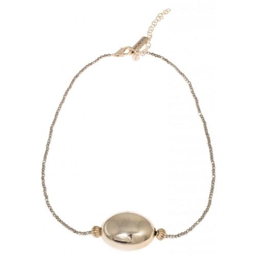 Collar de hematite y bola ovalada central de plata