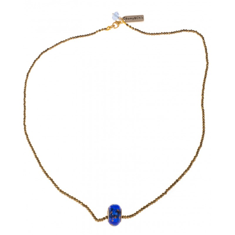 Necklace in golden faceted hematite and central blue and gold Murano glass
