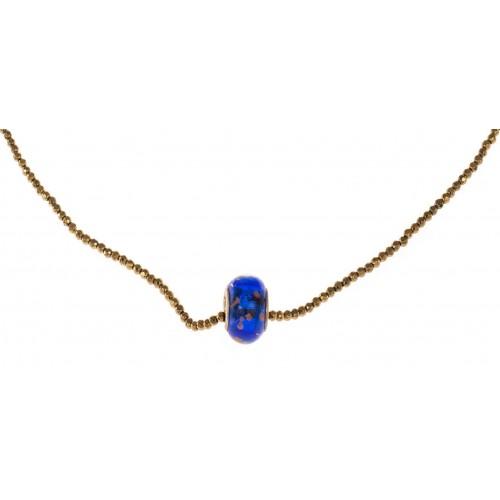 Collar cadena hematite dorado y central cristal azul