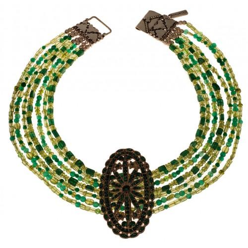 Collar Jade y piedras verdes 7 vueltas