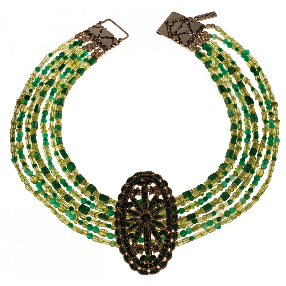 Collar de Jade y  piedras variadas verdes de 7 vueltas