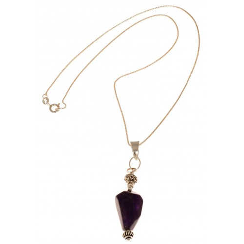 Pendant Elongated in amethyst and silver carved balls