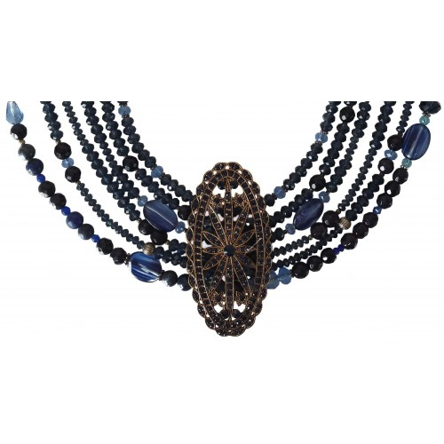 Necklace in blue faceted aventurine and crystal 6 strips