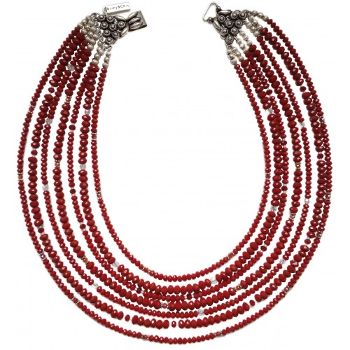 Necklace in red crystal 7 strips and decorated silver closure