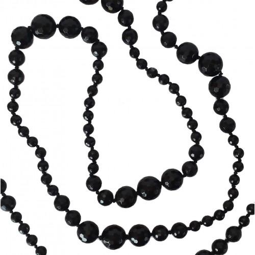 Collar largo de ágata negra facetada de 160 cm