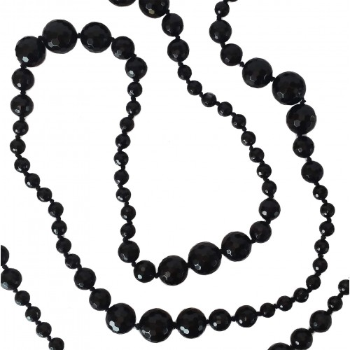 Necklace in black faceted agate 160 cm long