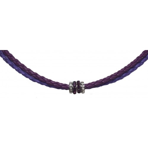 Chocker in imitation purple leather and side rondelles in purple and white