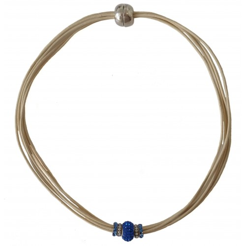 Chocker in cream leather and central blue fine crystal