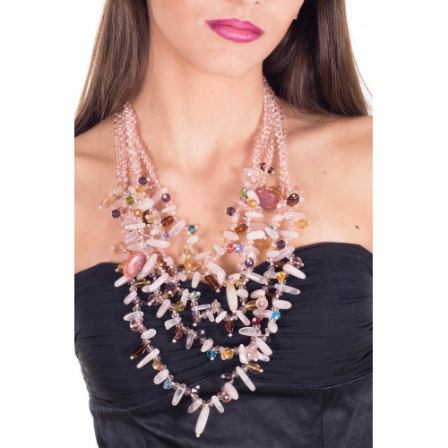 Necklace in crystal 5-strips pink cascade