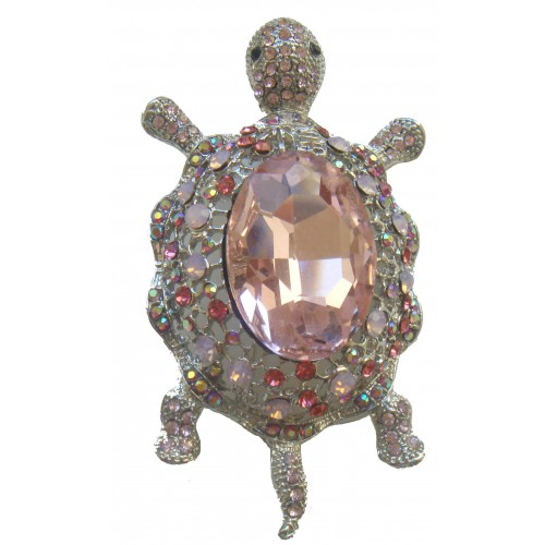Brooche turtle with shiny pink stras and silver metal