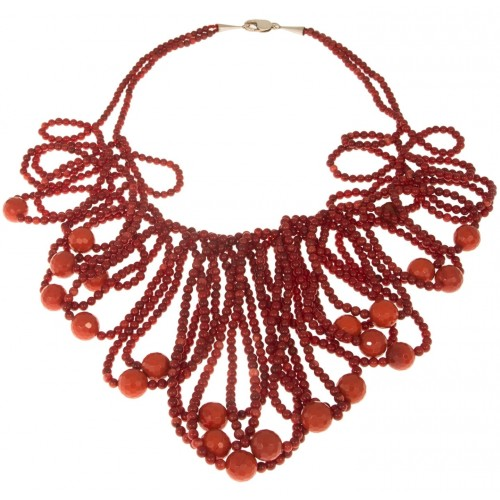 Necklace in coral cascade 2 stripes