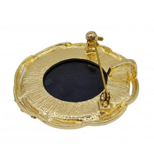 Broche camafeo redondo en metal dorado