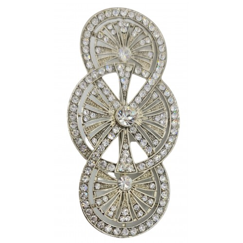 Brooche elongated silver metal with white stras