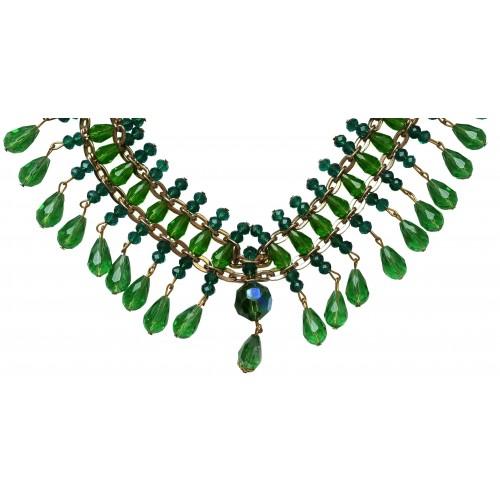 Collar de cristal y lágrimas verdes colgantes y cadena dorada