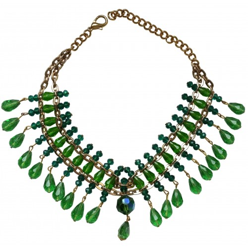 Necklace choker in green crystal  with hanging tears and golden chain