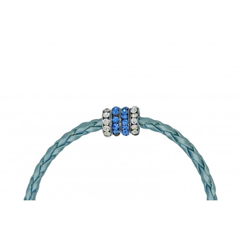 Bracelet in imitation light blue leather and central stras rondelles