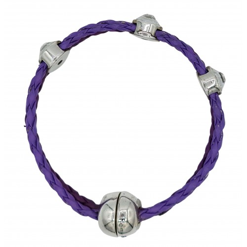 Bracelet in imitation multicolor leather and stras round beds