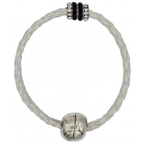 Bracelet in imitation white leather and central stras rondelles