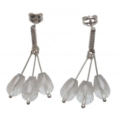 Pendientes de plata y 3 cuarzos blancos colgantes