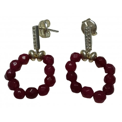 Earrings in silver and zircon with burgundy agate pendant circle