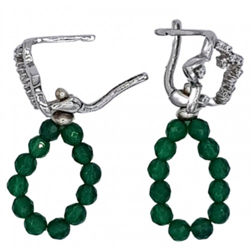 Star earrings in silver and zircon with green agate pendant circle