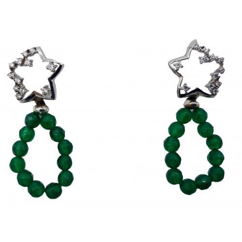 Pendientes Estrella Plata y circonitas y Agata verde