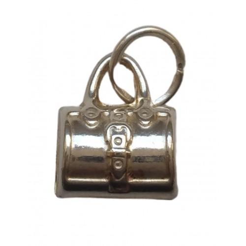 Charm silver suitcase-bag pendant