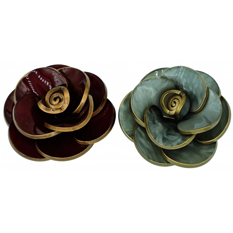 Brooch camellia resin flower with gold trim