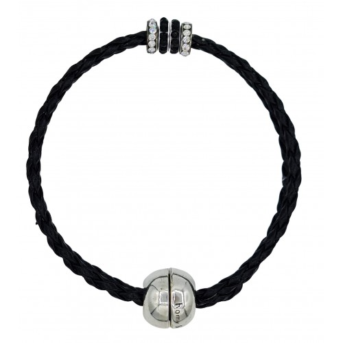 Bracelet in imitation black leather and central stras rondelles