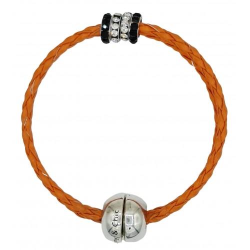 Bracelet in imitation orange leather and central stras rondelles