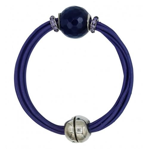 Bracelet in leather with purple agate centerpiece