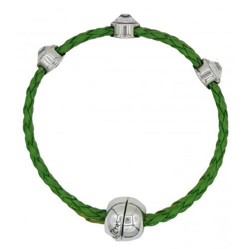 Pulsera simil cuero trenzado verde manzana y entrepiezas de stras