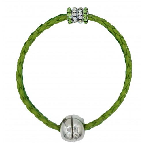 Bracelet in imitation light green leather and central stras rondelles