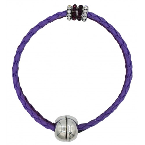 Bracelet in imitation purple leather and central stras rondelles