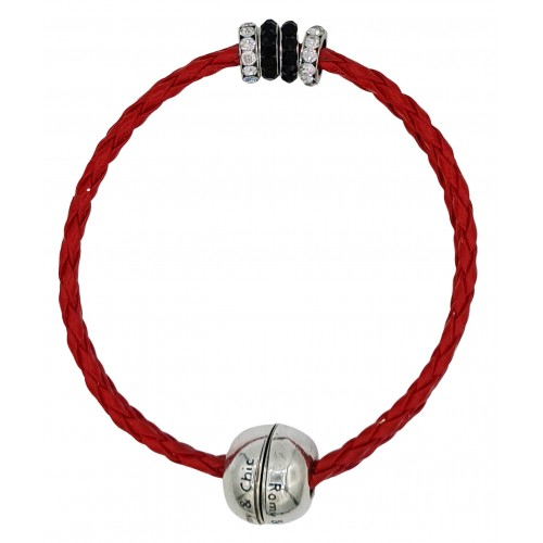 Bracelet in imitation red leather and central stras rondelles