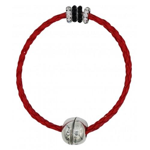 Pulsera simil cuero trenzado rojo y rondelles de stras centrales